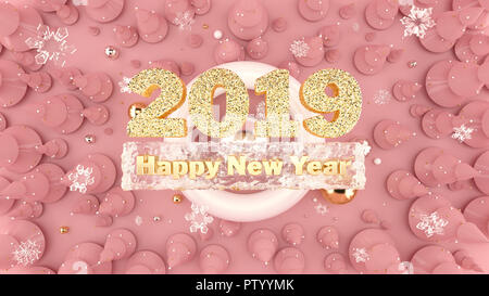 Happy New Year 2019 background with decorated christmas trees, falling snowflakes and 2019 gold numbers. - Stock Photo