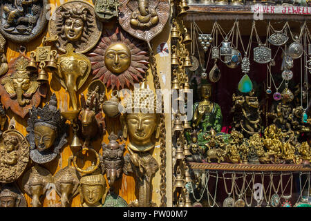 Manali, India - May 26, 2017: Traditional souvenirs and silver jewelleries indian shop - Stock Photo