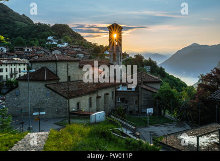 Village of Brè. Switzerland, May 12, 2018. Beautiful view of sunrise from Monte Brè Mountain. - Stock Photo