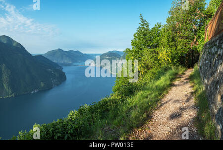 Village of Brè. Switzerland, May 12, 2018. Beautiful view of lake and mountain tops from Monte Brè Mountain. - Stock Photo