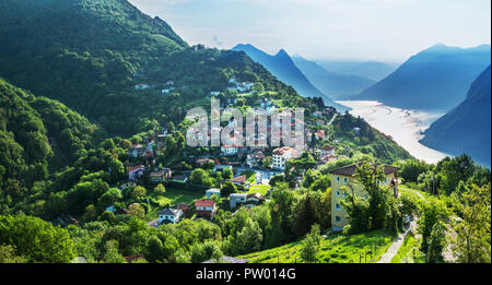 Village of Brè. Switzerland, May 12, 2018. Beautiful view of village in the early morning from Monte Brè Mountain. - Stock Photo
