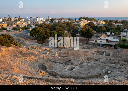 Ancient Hellenistic Amphitheatre in Paphos, Cyprus. - Stock Photo