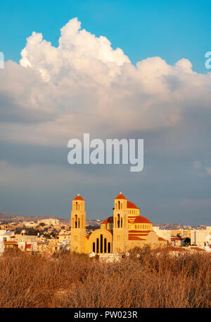 View of Paphos with the Orthodox Cathedral of Agio Anargyroi, Cyprus. - Stock Photo
