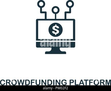 Crowdfunding Platform icon. Monochrome style design from fintech collection. UX and UI. Pixel perfect crowdfunding platform icon. For web design, apps - Stock Photo