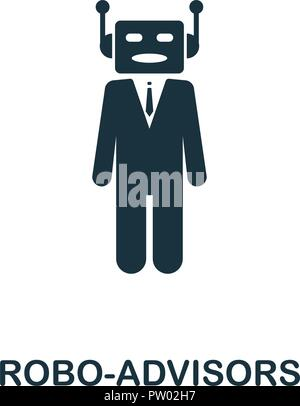 Robo-Advisors icon. Monochrome style design from fintech collection. UX and UI. Pixel perfect robo-advisors icon. For web design, apps, software, prin - Stock Photo