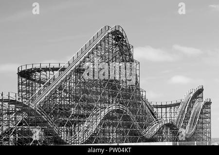 The Great White roller coaster in black and white, Wildwood NJ, USA - Stock Photo