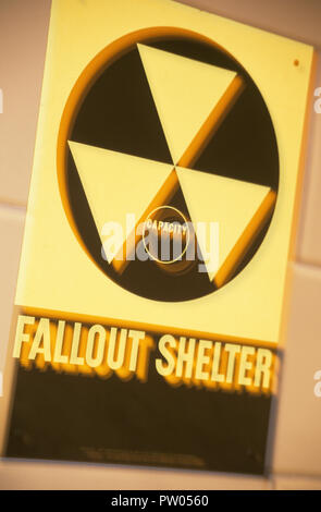 Civil defense fallout shelter sign and symbol, 1950s, USA - Stock Photo