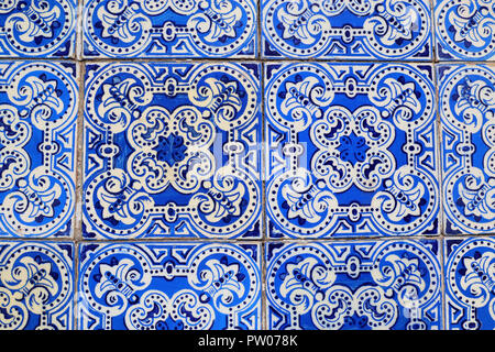 An abstract image of an Azulejos tile compilation found on a town house in Arganil, Portugal - Stock Photo