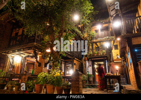 BANDIPUR, NEPAL - CIRCA MAY 2018: The Old Inn hotel at night. It was opened in 2000 and consists of two adjoining traditional Newari houses. - Stock Photo