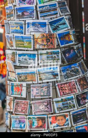 Kathmandu,Nepal - Sep 24,2018: Postcards from Nepal kept for sale in the Souvenir Soup in kathmandu. - Stock Photo