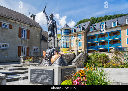 Statue of French Tour de France cyclist, Eugène Christophe / Le Vieux Gaulois at Sainte-Marie-de-Campan, Hautes-Pyrénées, France - Stock Photo
