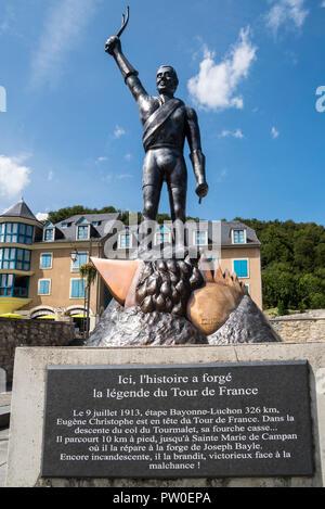 Statue of French Tour de France cyclist, Eugène Christophe / Le Vieux Gaulois at Sainte-Marie-de-Campan, Hautes-Pyrénées, France - Stock Photo