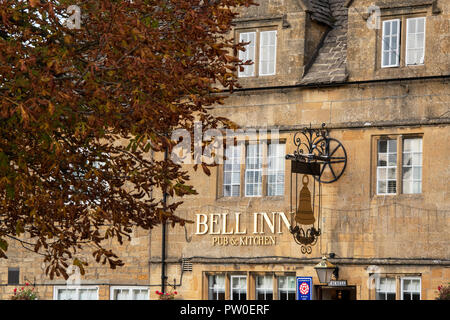 Bell inn in the  early morning autumn sunlight. Willersey, Cotswolds, Gloucestershire, England - Stock Photo