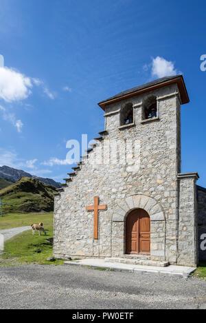 Chapelle Notre-Dame de La Mongie / Chapelle Notre-Dame-des-Neiges, chapel in the village La Mongie, winter ski resort in Campan, Hautes-Pyrénées, Fran - Stock Photo
