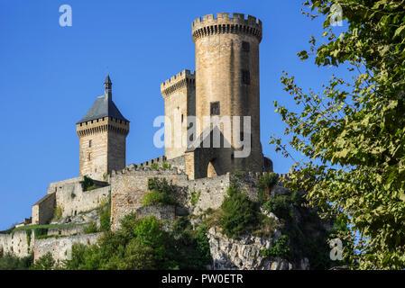 The medieval Château de Foix castle overlooking the town Foix, Ariège, Occitanie, France - Stock Photo
