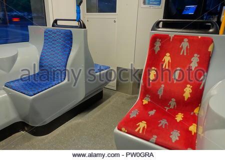 Amsterdam, Behindertenplatz in einer Strassenbahn, Disabled Seat in Tramway - Stock Photo