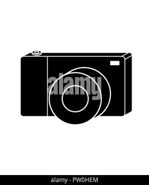 Photo camera vector, isolated in black and white, perfect for a logo or store sign. Usable in a logo for your bussines - Stock Photo