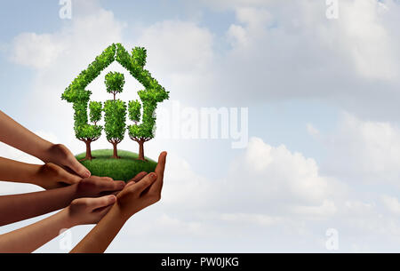 Social rental housing and community growth concept as a group of diverse hands holding trees shaped as a home as an eco friendly. - Stock Photo