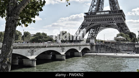 View of the Jena Bridge and Eiffel Tower. - Stock Photo