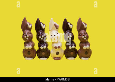 Easter bunnies isolated on a yellow background. - Stock Photo