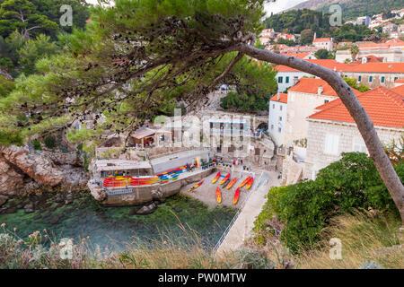 Sulić Beach seen from Lovrijenac Fortress, Dubrovnik, Croatia, Europe - Stock Photo