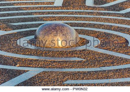 Maze sculpture by the Stone Jetty on Morecambe Promenade, Lancashire, England, UK - Stock Photo