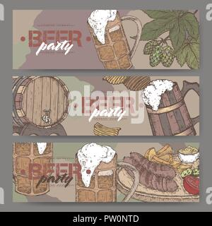 Three color landscape beer party banners with beer keg, mug, chips, hop branch and snack plate. - Stock Photo