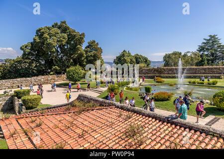 The pond and fountain in the grounds of the Castelo do Castro,  Vigo Spain - Stock Photo