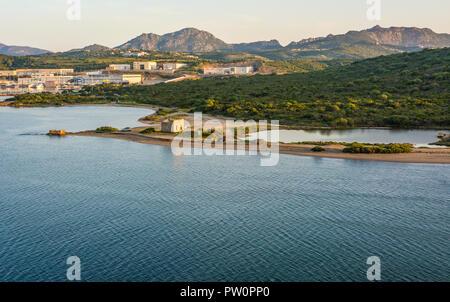 Olbia in Sardinia. Landscape around Olbia, view from cruise ship arriving into the Olbia harbor in Sardinia island, morning scene - Stock Photo