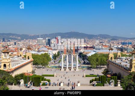 View over city and Avinguda de la Reina Maria from steps outside Museu Nacional d'Art de Catalunya (MNAC), Parc de Montjuïc, Barcelona, Spain.