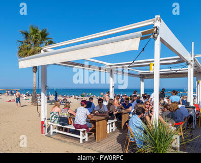 Barcelona beach. Beach bar on Platja de Sant Miquel, La Barceloneta, Barcelona, Spain - Stock Photo