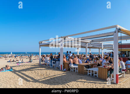 Barcelona beach. Beach bar on Platja de Sant Miquel, La Barceloneta, Barcelona, Spain - Stock Photo