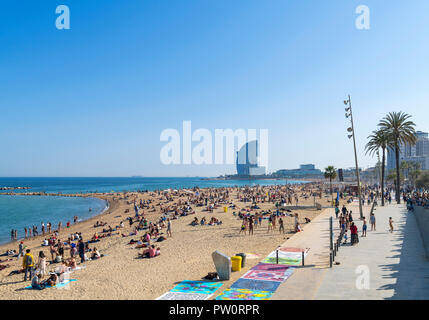 Barcelona beach. The beach in La Barceloneta (Platja de la Barceloneta), Barcelona, Spain - Stock Photo