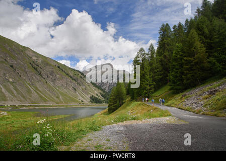 Livigno / Italy - a beautiful scene with the lake and people walking along the promenade through the pine woods, in the background blue sky and clouds - Stock Photo
