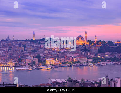 Sunset in Istanbul Turkey seen from Galata Tower over the river bosphorus and golden horn, soft sun light cityscape skyscrapers and skyline istanbul - Stock Photo
