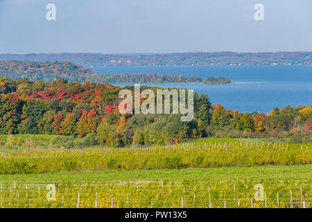 West Arm of Grand Traverse Bay from high of Old Mission Peninsula in the fall. - Stock Photo