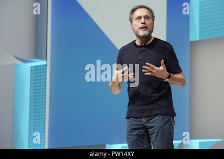London, UK. 10th Oct, 2018. Google top manager Urs Hölzle speaks at the Google cloud conference Next '18 in London. Hölzle is responsible for the technical infrastructure at Google. According to Google's top manager Hölzle, the servers of large cloud providers in the USA are probably not equipped with espionage chips from China. Credit: Christoph Dernbach/dpa/Alamy Live News - Stock Photo