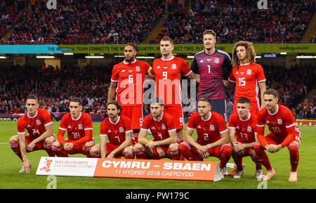 Cardiff, Wales October 11,  Back Row :- Ashley Williams, Sam Vokes, Wayne Hennessey and Ethan Ampadu of Wales.  Front Row:- Connor Roberts, Harry Wilson, Joe Allen, Ben Davies, Chris Gunter, Declan John and Aaron Ramsey of Wales.  during Exhibition Match between Wales and Spain at Principality stadium, Cardiff City, on 11 Oct  2018.  Credit Action Foto Sport Credit: Action Foto Sport/Alamy Live News - Stock Photo
