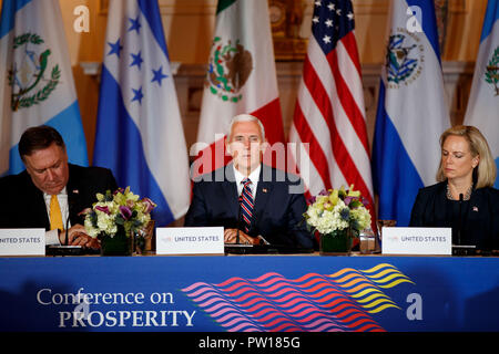 Washington, USA. 11th Oct, 2018. U.S. Vice President Mike Pence (C) speaks during the Conference on Prosperity and Security in Central America at the U.S. Department of State in Washington, DC, the United States, on Oct. 11, 2018. Credit: Ting Shen/Xinhua/Alamy Live News Stock Photo