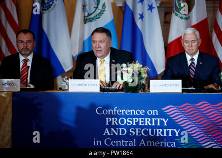 Washington, USA. 11th Oct, 2018. U.S. Secretary of State Mike Pompeo (C) speaks during the Conference on Prosperity and Security in Central America at the U.S. Department of State in Washington, DC, the United States, on Oct. 11, 2018. Credit: Ting Shen/Xinhua/Alamy Live News - Stock Photo