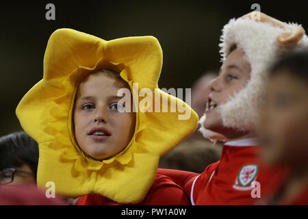 Cardiff, UK. 11th Oct 2018. young Wales fans.Football friendly international match, Wales v Spain at the Principality Stadium in Cardiff , South Wales on Thursday 11th October 2018. picture by Andrew Orchard/Alamy Live News - Stock Photo