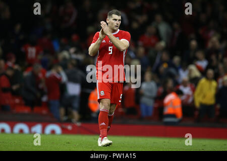 Cardiff, UK. 11th Oct 2018. Sam Vokes of Wales. Football friendly international match, Wales v Spain at the Principality Stadium in Cardiff , South Wales on Thursday 11th October 2018. picture by Andrew Orchard/Alamy Live News - Stock Photo