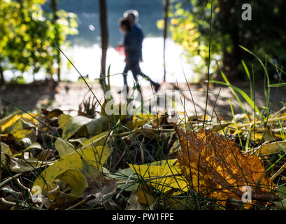 12 October 2018, North Rhine-Westphalia, Herdecke: Two walkers on their way along the Ruhr. Photo: Bernd Thissen/dpa - Stock Photo