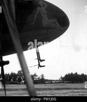 U.S. ARMY AIR FORCE Douglas C-47 Skytrain with Airspeed Horsa in the Background - Stock Photo
