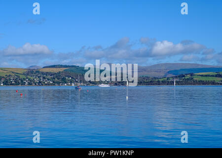 River Clyde, some small craft and the Argyle Hills in the distance - Stock Photo