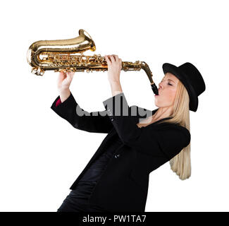 Young Woman Playing Saxophone On White Background - Stock Photo