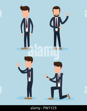 Set of groom cartoons collection - Stock Photo