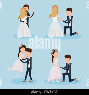 Set of wedding couple cartoons - Stock Photo