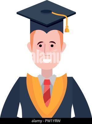 graduate man portrait with graduation hat vector illustration - Stock Photo
