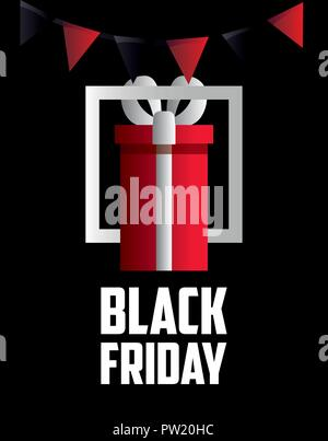 black friday shopping frame gift box pennants vector illustration - Stock Photo